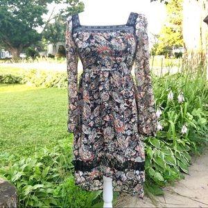 Band of Gypsies Boho Hi-Lo Black Floral Dress